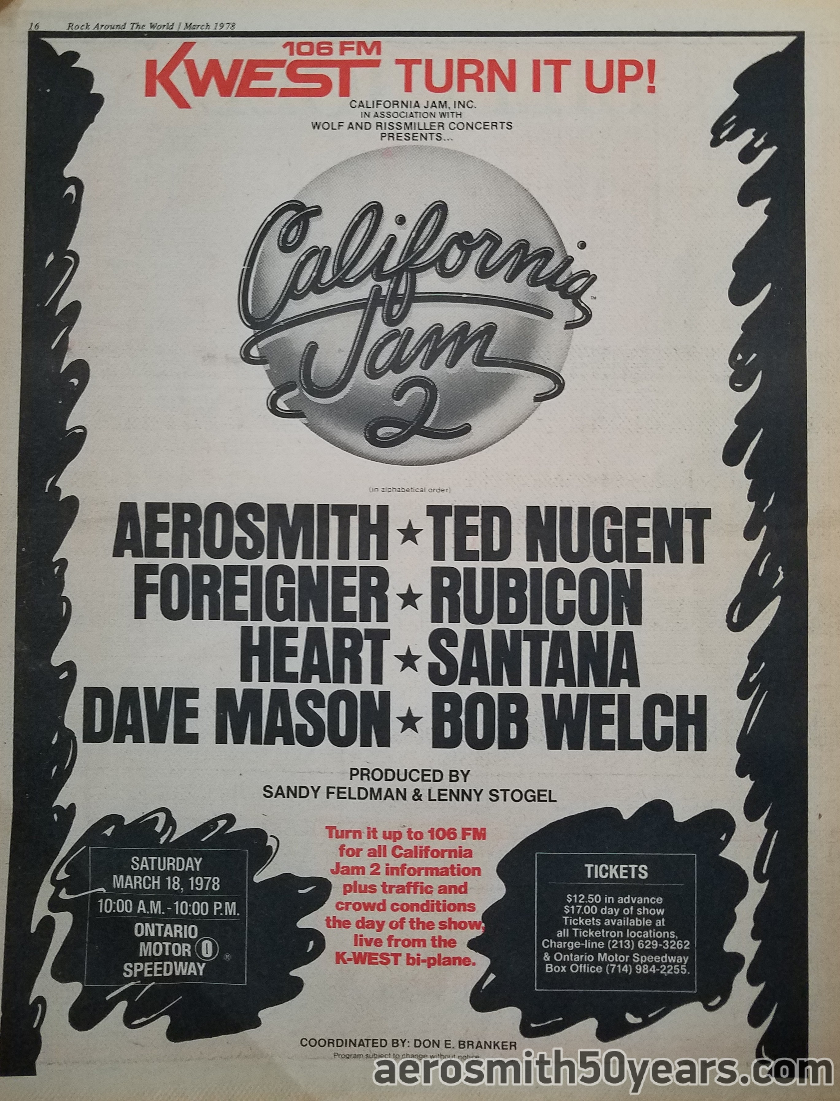 California Jam 2 March 18th 1978 Concert Ad Aerosmith