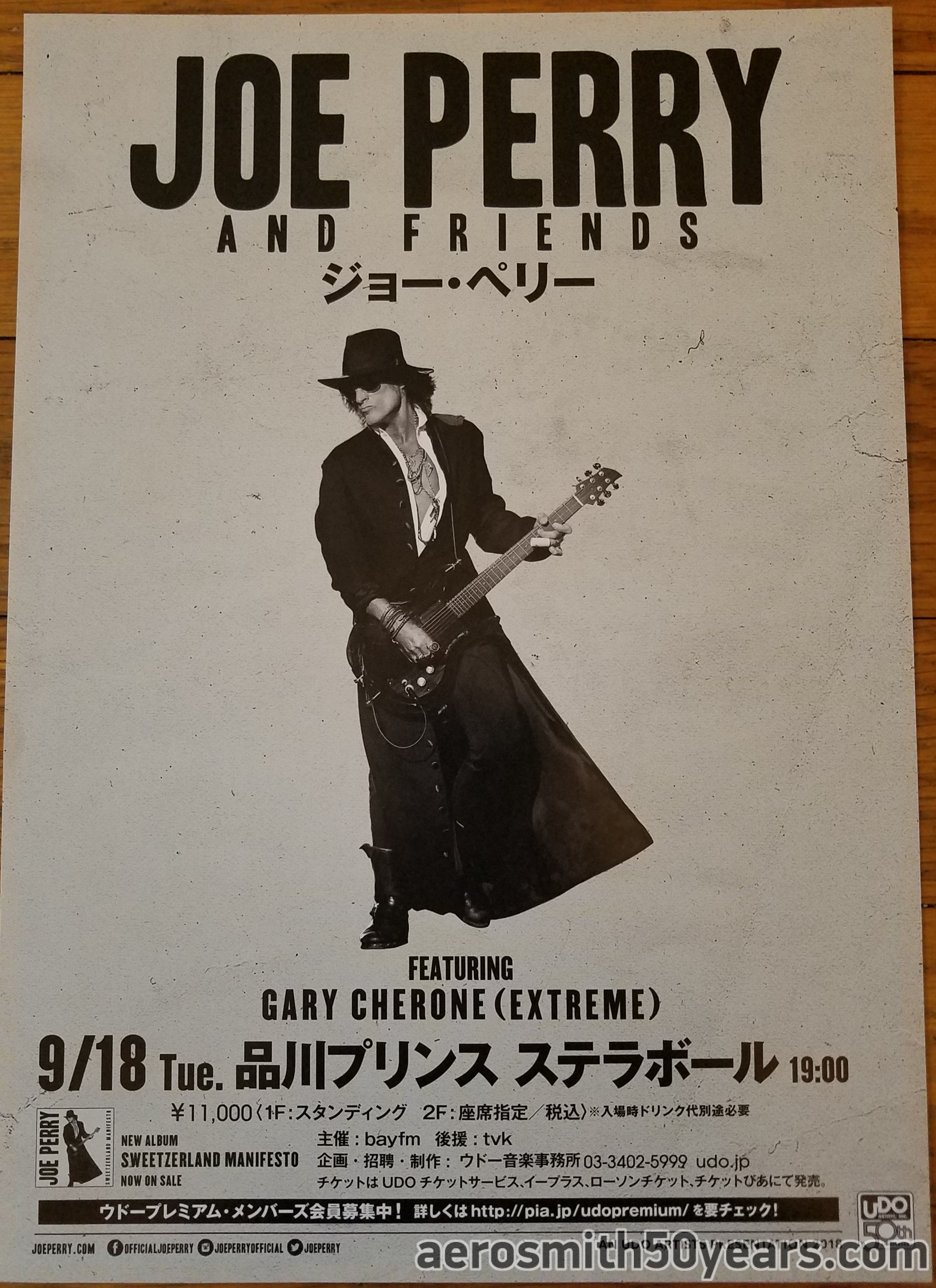 Joe Perry And Friends- September 18th, 2018 Japan Tour Flyer