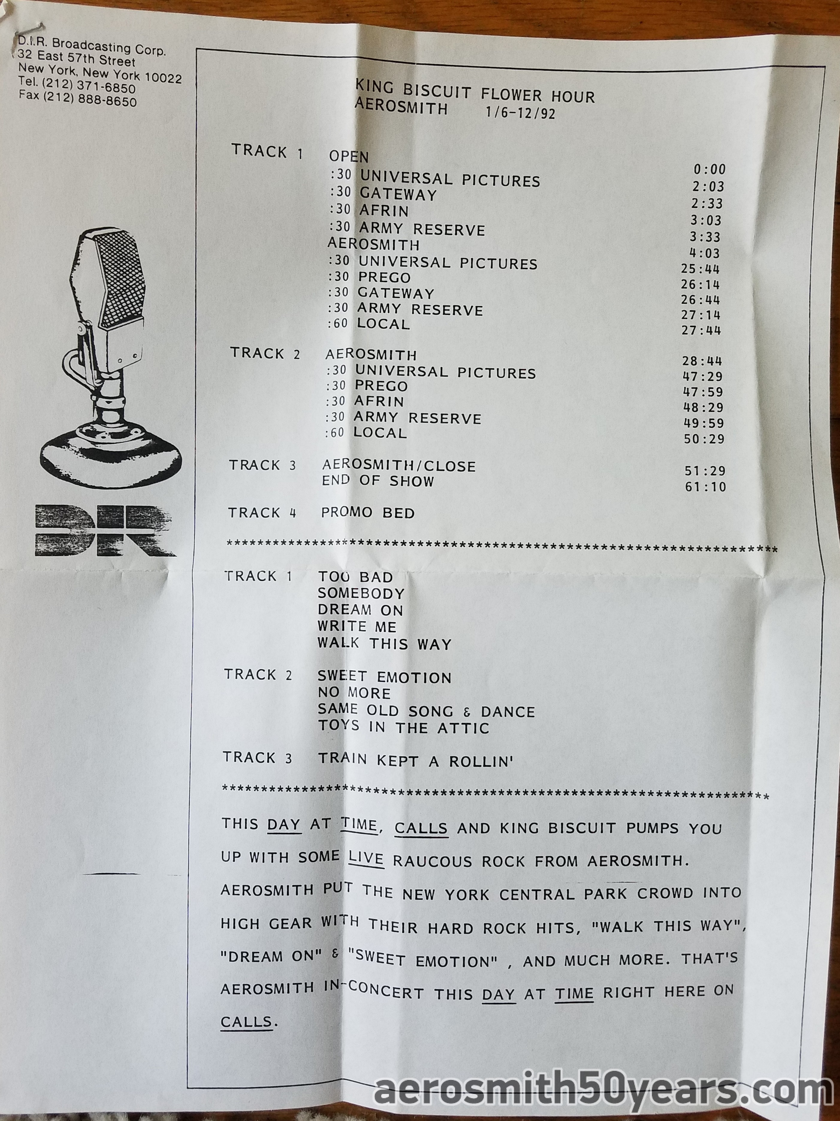 King Biscuit Flower Hour- Broadcast Date January 6-12, 1992 Radio Show. Aerosmith Live 1975 Central Park, NY.  1 CD With Cue Sheet.