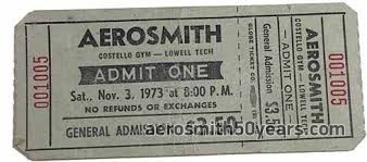 November 3rd, 1973 Costello Gym-Lowell Tech. Lowell, Massachusetts Ticket