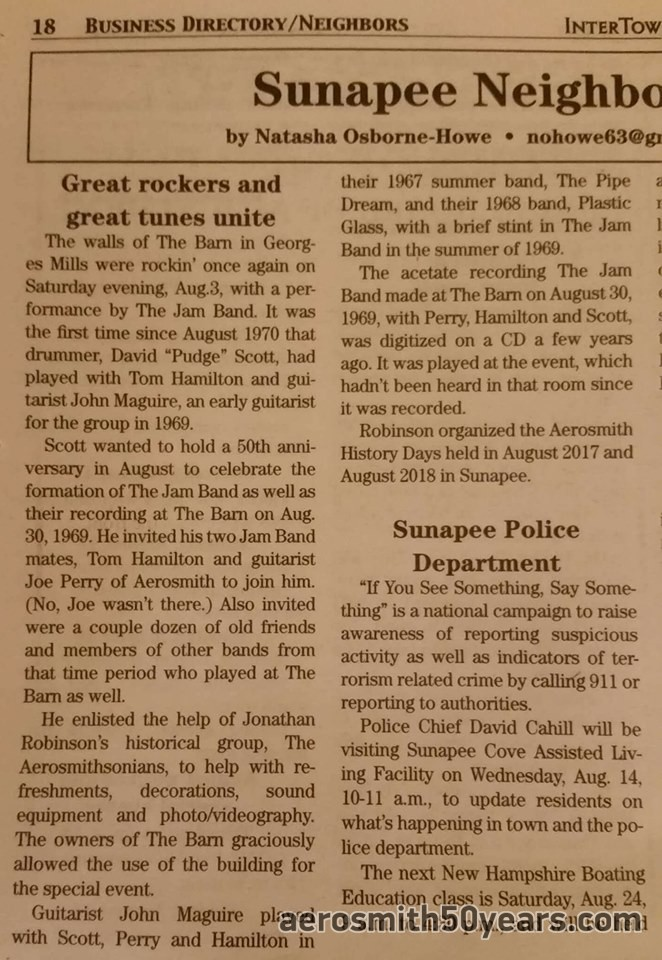 Jamband News Article August 2019 About The 50th Reunion At The Barn.