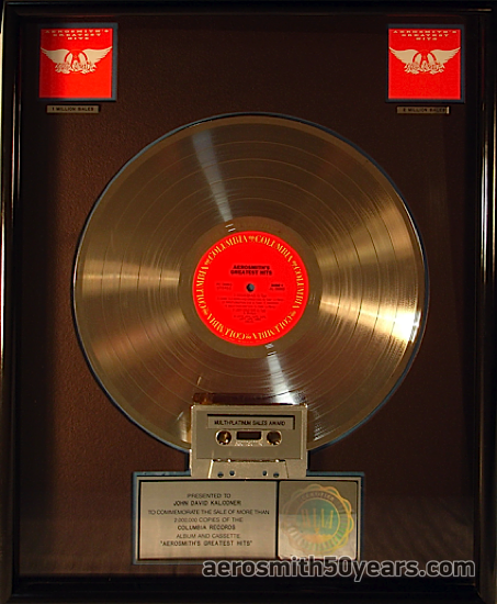 """""""Greatest Hits"""" – RIAA Award. Presented To John David Kolodner. To Commemorate Sales Of More Than 2,000,000 Copies Of The Columbia Album & Cassette."""