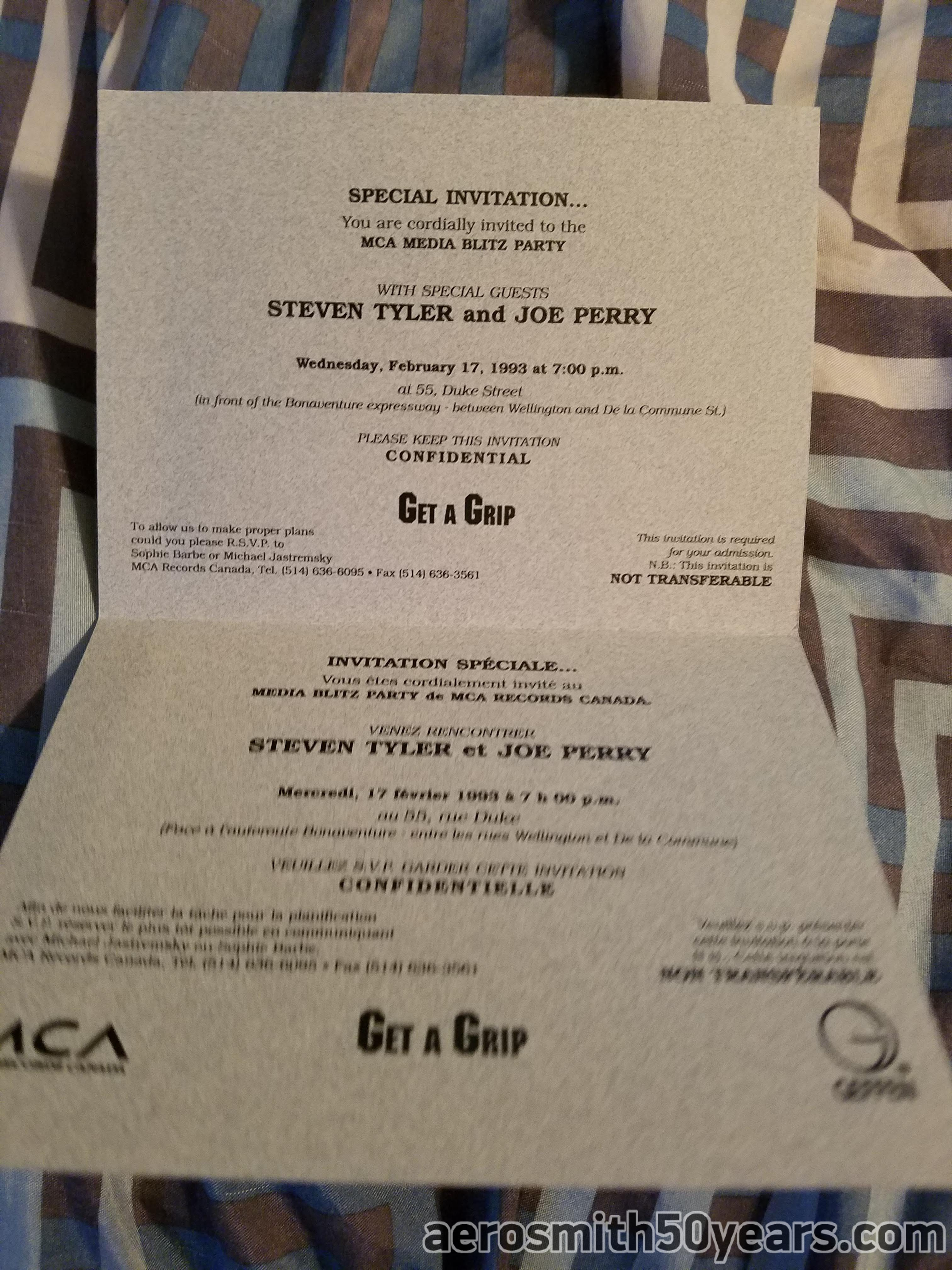 Get A Grip -February 17, 1993  Invitation For Canadian MCA Media Party.
