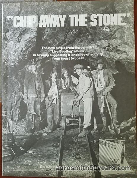 """""""Chip Away The Stone"""" AD For Potential Single From Live! Bootleg. (Note That They've Used The """"Night In The Ruts"""" Cover Photo Before The Album Was Released)."""