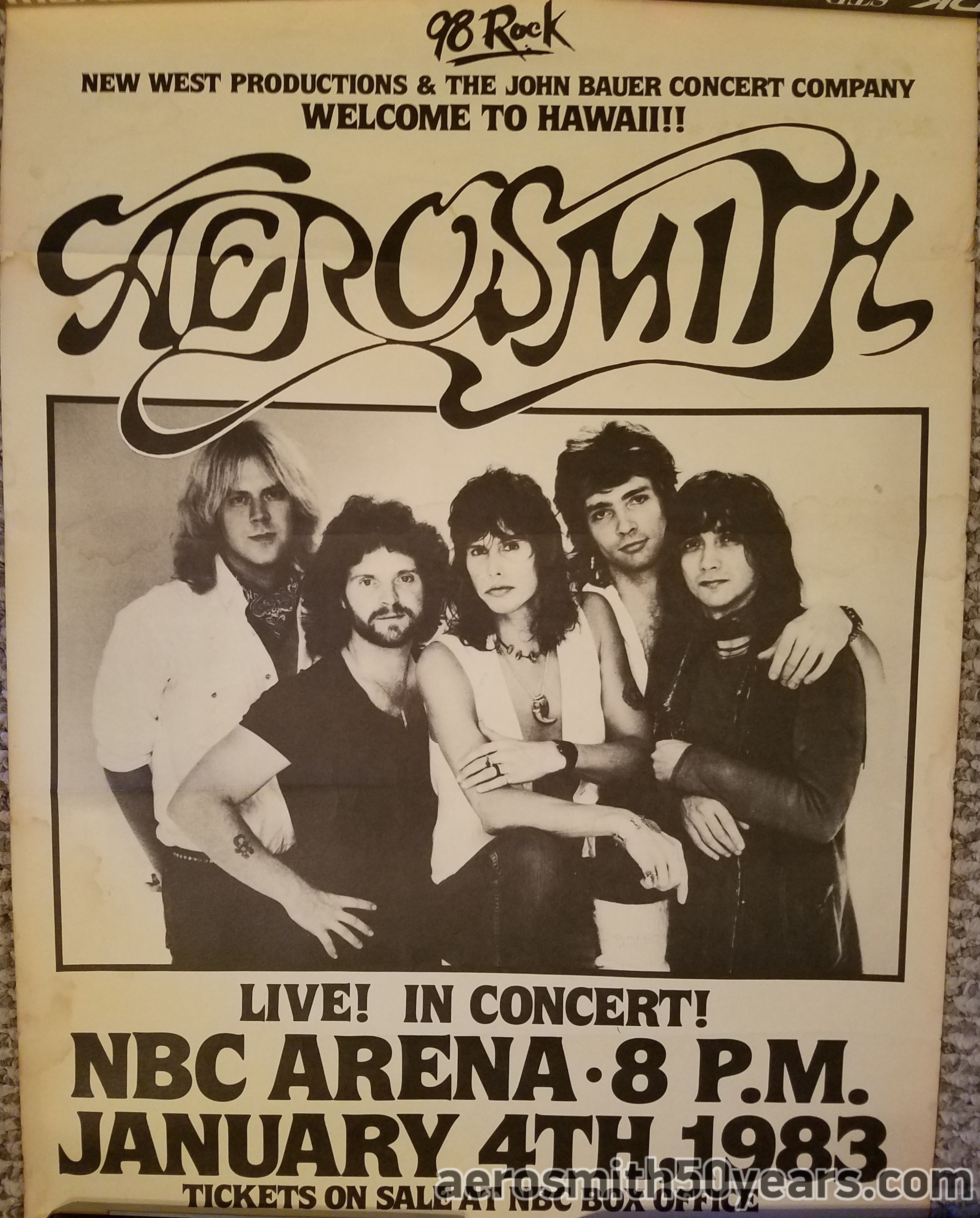 January 4th, 1983 NBC Arena Hawaii Concert Poster