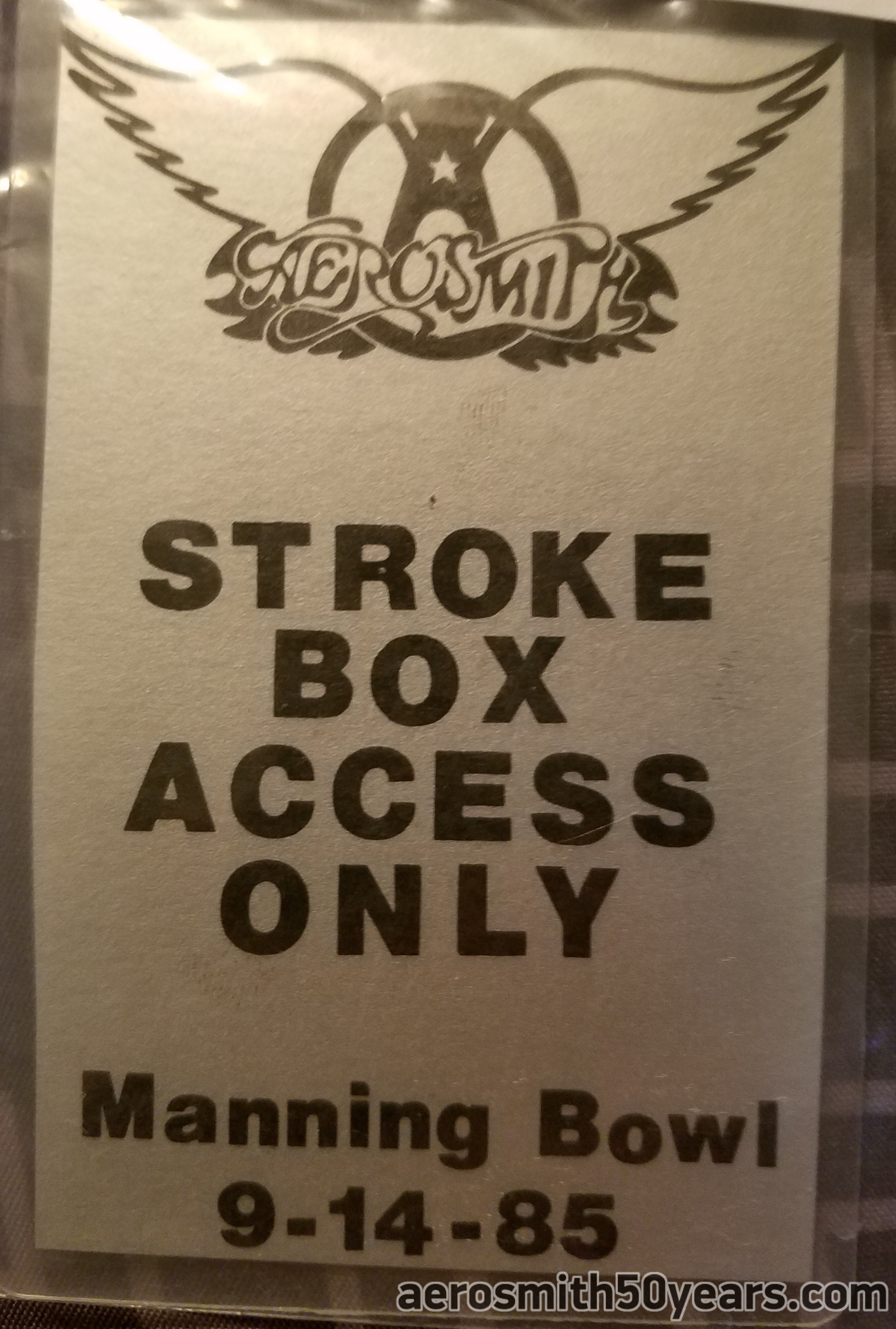 Manning Bowl, Lynn, Massachusetts. September 14, 1985. This was John Kalodner's  personal laminate pass acquired from the Kalodner auction.