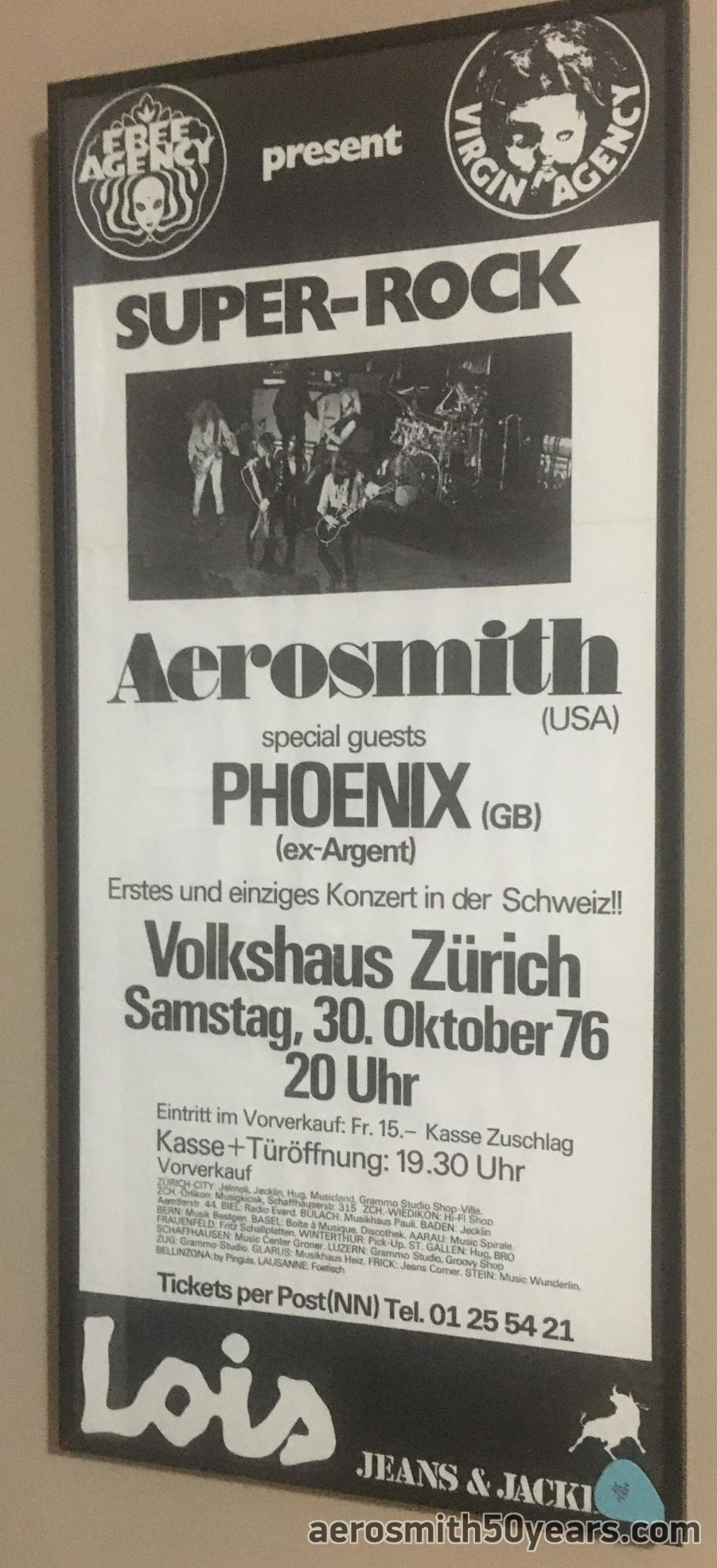 October 30th, 1976 Volkshaus, Zurich, Switzerland Concert Poster. From The Collection Of Someone Who Was There! (Thanks for sharing!)
