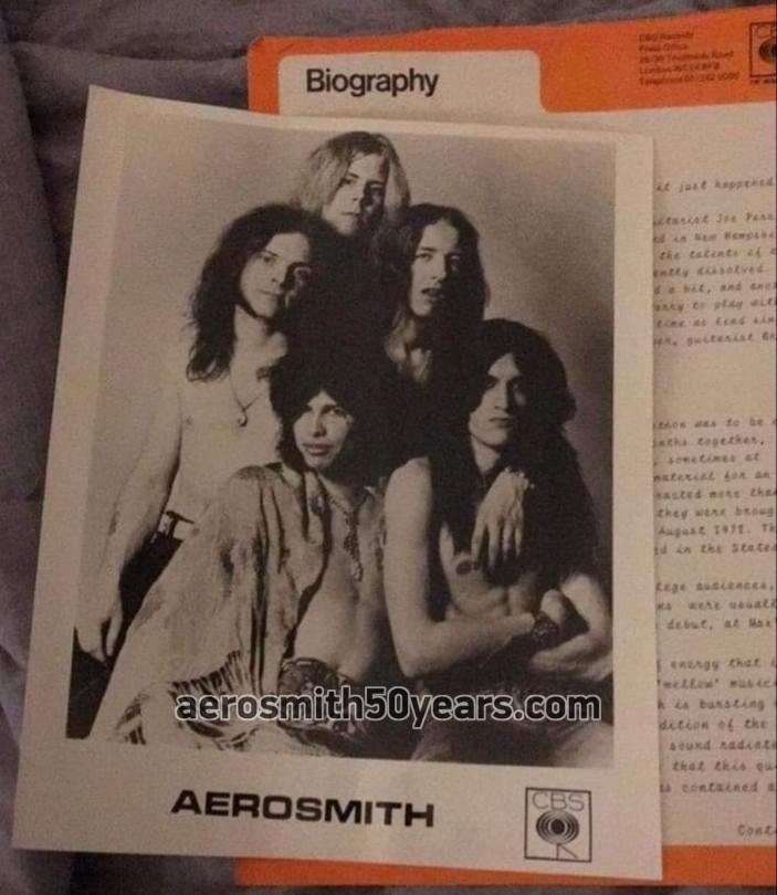 Aerosmith's First Album Press Kit. Biography, Photo on CBS Press Office Letterhead.