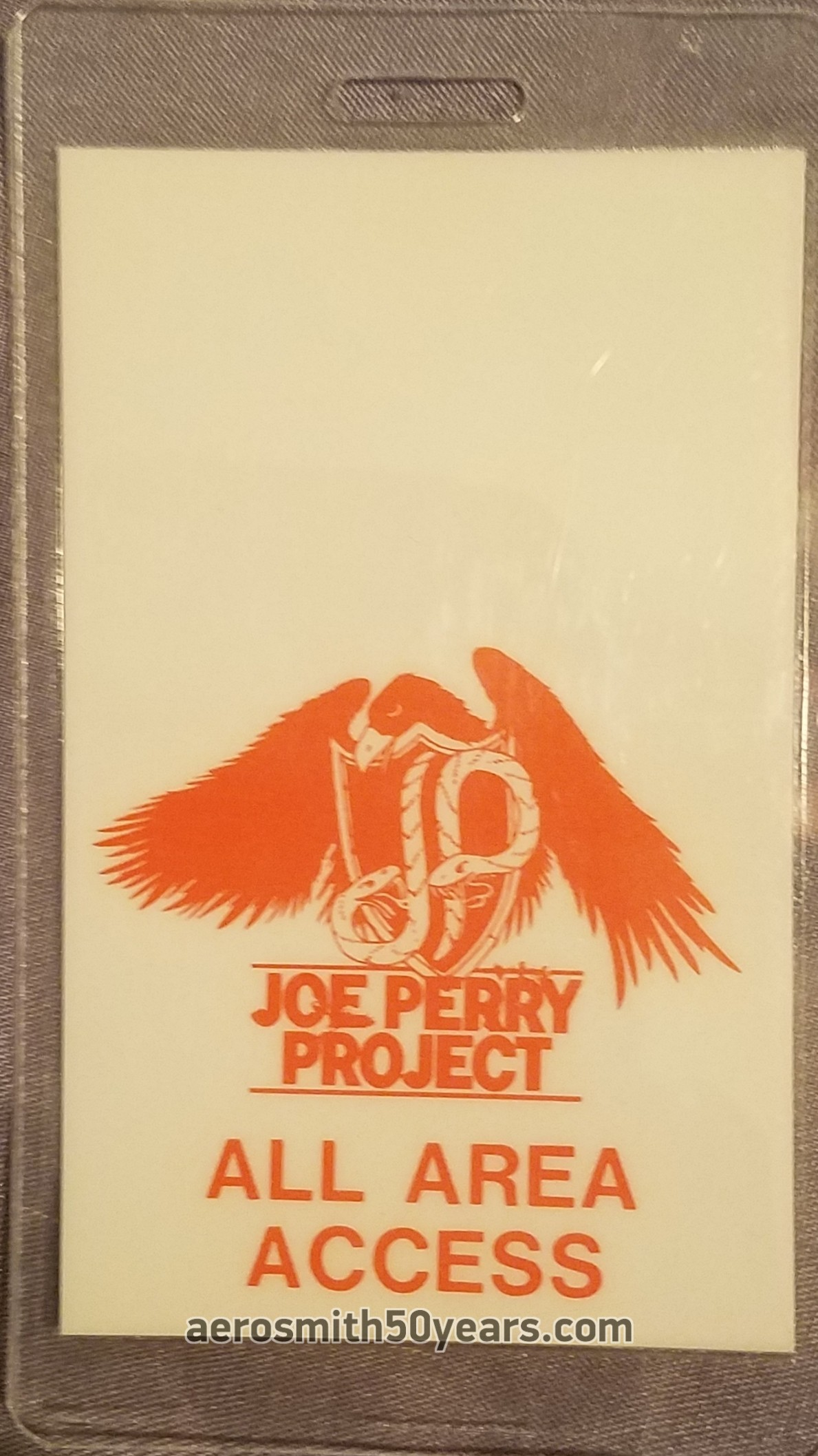 Joe Perry Project – 1983/84 Laminate All Access Pass. This was likely for a one off event as the band didn't use laminate passes I'm told.